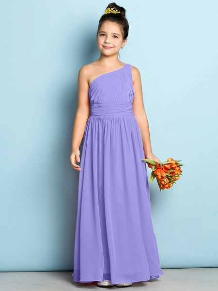 A-Line One Shoulder Ankle Length Chiffon Junior Bridesmaid Dress With Side Draping / Natural / Mini Me_37