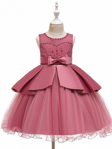 A-Line Knee Length Wedding / Party Communion Dresses - Tulle / Matte Satin / Poly&Cotton Blend Sleeveless Jewel Neck With Lace / Bow(S) / Beading_13