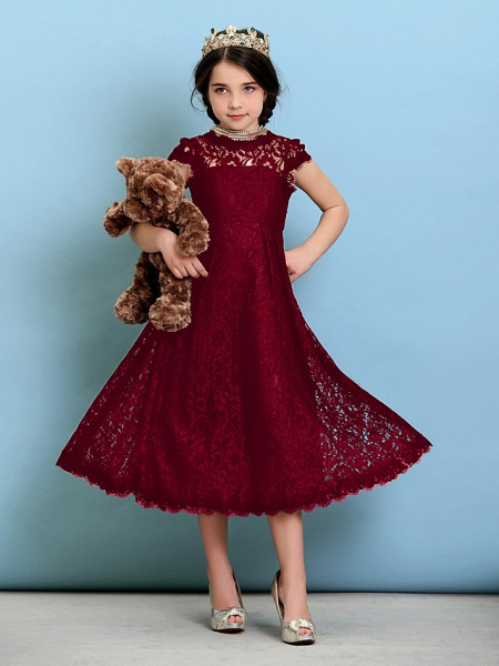 Princess / A-Line Jewel Neck Tea Length Lace Junior Bridesmaid Dress With Pleats / Natural_16