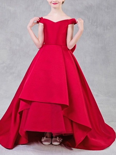 Ball Gown Sweep / Brush Train Pageant Flower Girl Dresses - Polyester Short Sleeve Off Shoulder With Bow(S)_4