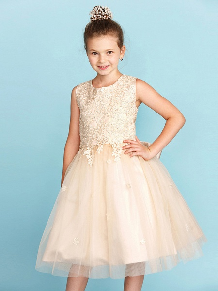Princess / A-Line Jewel Neck Knee Length Lace / Tulle Junior Bridesmaid Dress With Bow(S) / Appliques / Wedding Party_6