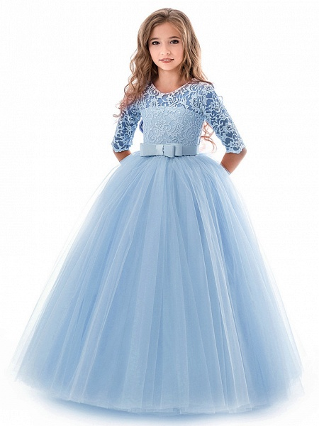 Princess Long Length Wedding / Party / Pageant Flower Girl Dresses - Lace / Tulle Half Sleeve Jewel Neck With Lace / Belt_3