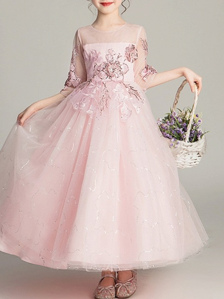 Ball Gown Ankle Length Pageant Flower Girl Dresses - Polyester Half Sleeve Jewel Neck With Bow(S)_2