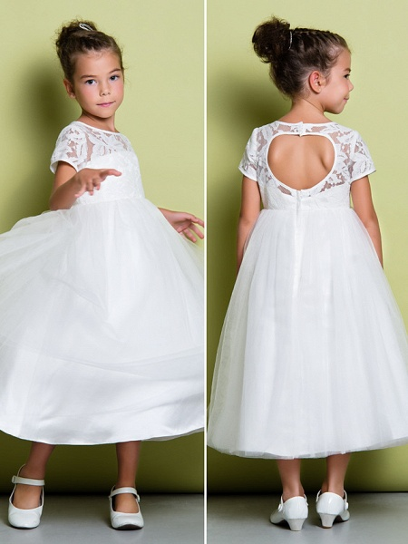A-Line Tea Length Wedding / First Communion Flower Girl Dresses - Lace / Tulle Short Sleeve Jewel Neck With Lace_9