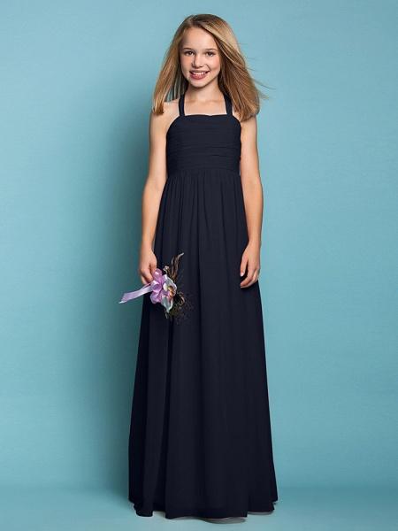 Sheath / Column Halter Neck Floor Length Chiffon Junior Bridesmaid Dress With Ruched / Spring / Summer / Fall / Apple / Hourglass_36