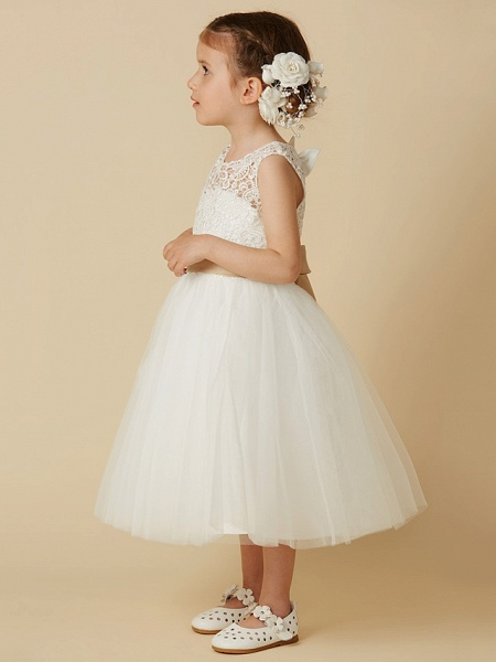 Princess Knee Length Wedding / First Communion Flower Girl Dresses - Lace / Tulle Sleeveless Jewel Neck With Sash / Ribbon / Bow(S)_3