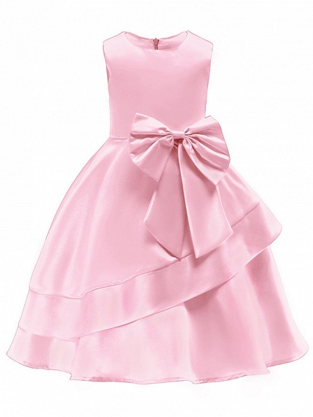 Ball Gown Knee Length Wedding / Party Flower Girl Dresses - Tulle Sleeveless Jewel Neck With Bow(S) / Tier_4