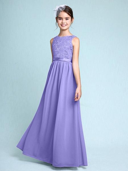 Sheath / Column Bateau Neck Floor Length Chiffon / Lace Junior Bridesmaid Dress With Lace / Natural_38