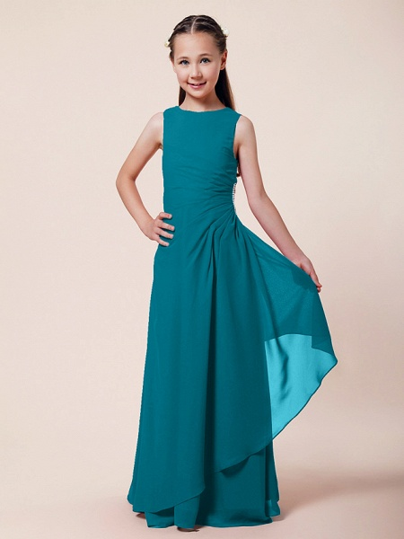A-Line / Sheath / Column Bateau Neck Floor Length Chiffon Junior Bridesmaid Dress With Beading / Side Draping / Spring / Summer / Fall / Winter / Wedding Party_23