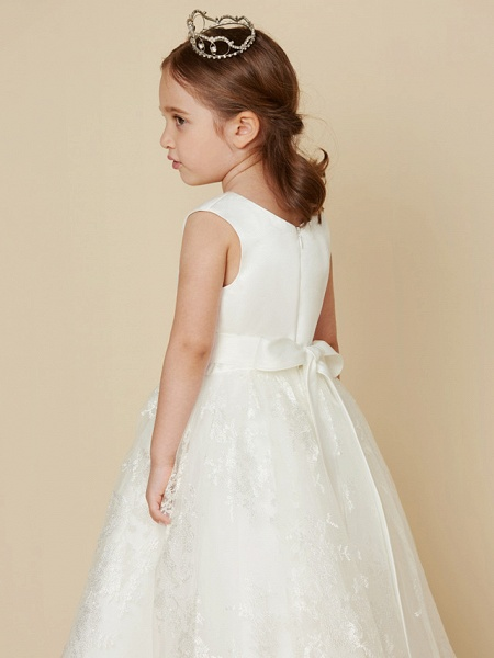Princess Knee Length Wedding / First Communion Flower Girl Dresses - Lace / Satin Sleeveless Scoop Neck With Sash / Ribbon / Bow(S)_5