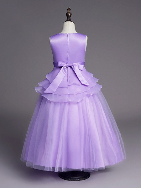 Princess Long Length Wedding / First Communion Flower Girl Dresses - Satin / Tulle Sleeveless Jewel Neck With Belt / Beading / Embroidery_13