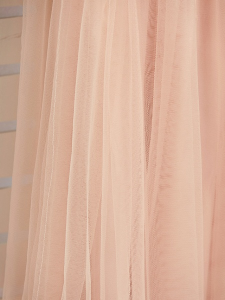 A-Line Jewel Neck Sweep / Brush Train Lace / Tulle Junior Bridesmaid Dress With Appliques_8