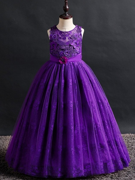Princess / Ball Gown Floor Length Wedding / Party Flower Girl Dresses - Lace / Tulle Sleeveless Jewel Neck With Bow(S) / Appliques_3