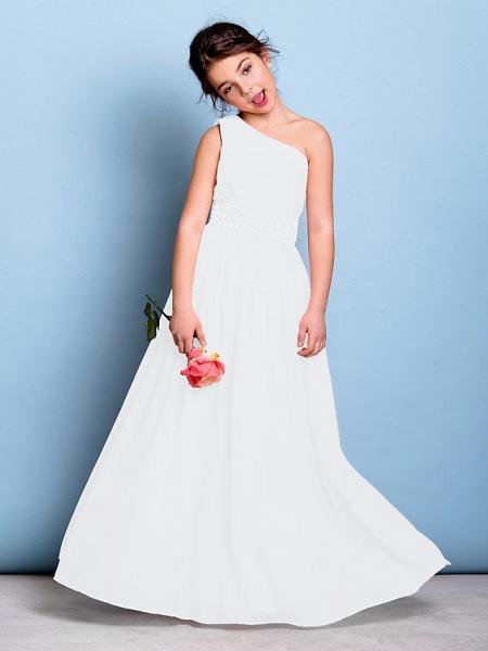 A-Line One Shoulder Floor Length Chiffon Junior Bridesmaid Dress With Sash / Ribbon / Beading / Side Draping / Natural_19
