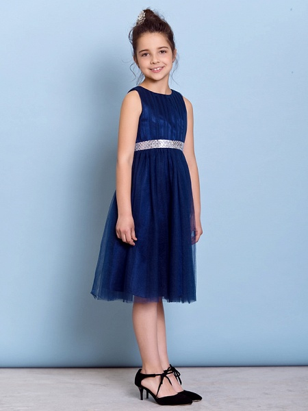 A-Line Jewel Neck Knee Length Tulle Junior Bridesmaid Dress With Sash / Ribbon / Sequin / Draping / Natural_3