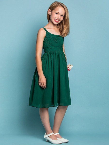 Sheath / Column Straps Knee Length Chiffon Junior Bridesmaid Dress With Ruched / Draping / Spring / Summer / Fall / Apple / Hourglass_2