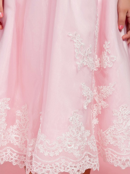 Princess / A-Line Ankle Length First Communion / Wedding Party Organza Short Sleeve Bateau Neck / Off Shoulder With Bow(S) / Ruched / Appliques / Spring / Summer / Fall_9