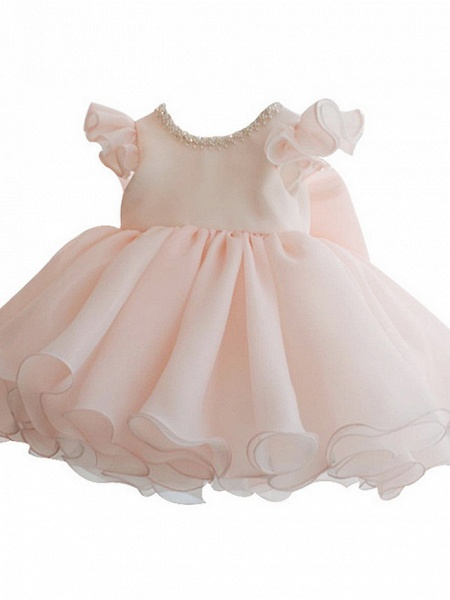 A-Line Short / Mini Party / Birthday Flower Girl Dresses - Poly Sleeveless Jewel Neck With Lace / Bow(S) / Tier_3