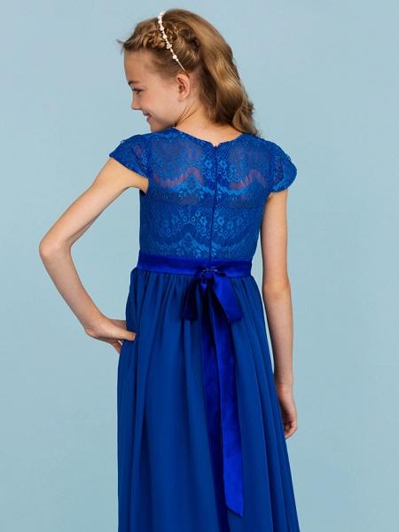 Princess / A-Line Crew Neck Floor Length Chiffon / Lace Junior Bridesmaid Dress With Sash / Ribbon / Bow(S) / Wedding Party_7