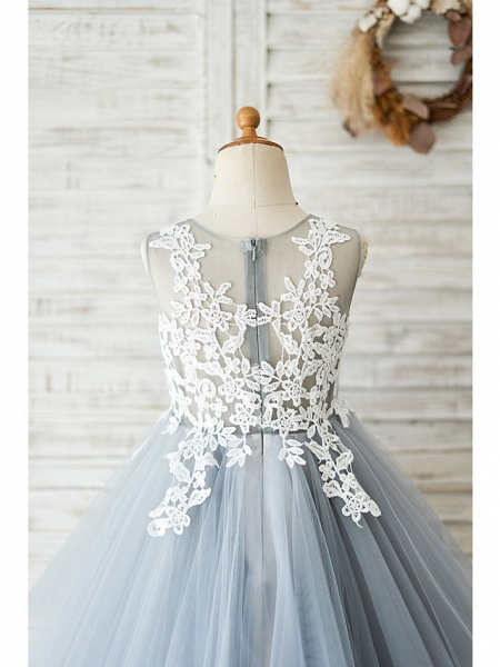 Ball Gown Knee Length Wedding / Birthday Flower Girl Dresses - Lace / Tulle Sleeveless Jewel Neck With Lace_4