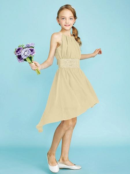 Sheath / Column Jewel Neck Asymmetrical Chiffon Junior Bridesmaid Dress With Sequin / Natural_17
