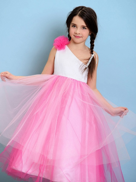 Ball Gown One Shoulder Tea Length Tulle Junior Bridesmaid Dress With Flower / Natural_6