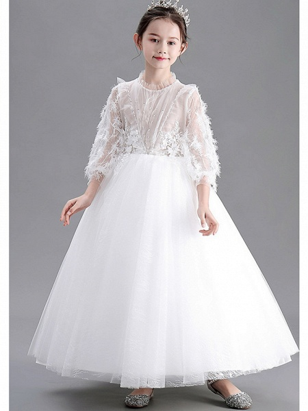 Ball Gown Floor Length Wedding / Party Flower Girl Dresses - Lace / Tulle Long Sleeve Jewel Neck With Appliques_3