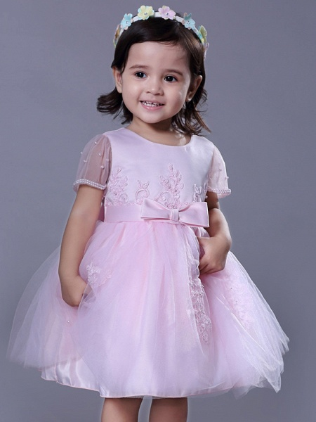 Ball Gown Royal Length Train / Medium Length Wedding / Party Flower Girl Dresses - Satin / Tulle Short Sleeve Jewel Neck With Beading / Appliques / Butterfly_1