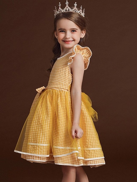 Ball Gown Knee Length Party / Birthday Flower Girl Dresses - Polyester / Cotton / Tulle Cap Sleeve Jewel Neck With Bow(S) / Ruffles_4