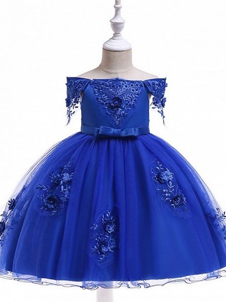 Princess / Ball Gown Knee Length Wedding / Party Flower Girl Dresses - Satin / Tulle Short Sleeve Off Shoulder With Sash / Ribbon / Bow(S) / Appliques_8