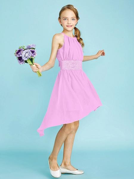 Sheath / Column Jewel Neck Asymmetrical Chiffon Junior Bridesmaid Dress With Sequin / Natural_26