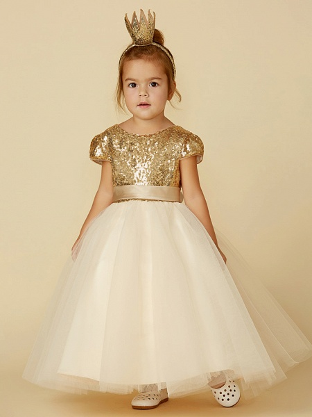 Princess Floor Length Wedding / Party / Pageant Flower Girl Dresses - Tulle / Sequined Short Sleeve Jewel Neck With Sash / Ribbon / Sequin_4