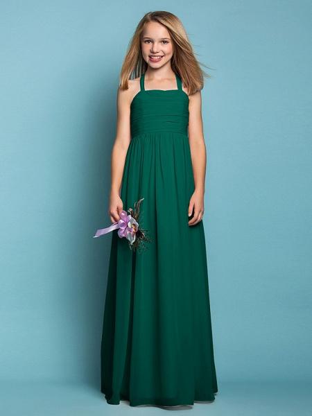 Sheath / Column Halter Neck Floor Length Chiffon Junior Bridesmaid Dress With Ruched / Spring / Summer / Fall / Apple / Hourglass_26