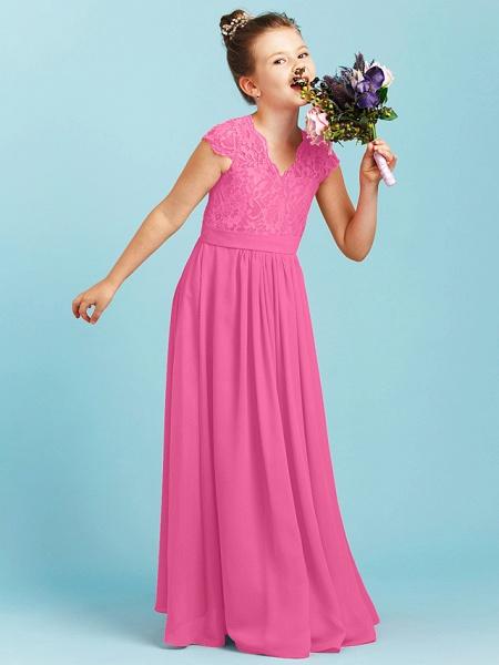 Princess / A-Line V Neck Floor Length Chiffon / Lace Junior Bridesmaid Dress With Sash / Ribbon / Pleats / Wedding Party_24