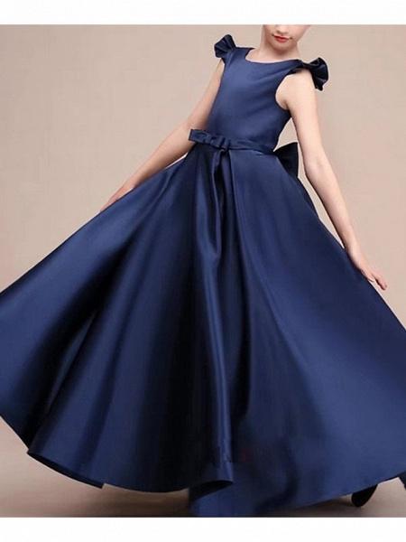 A-Line Round Neck Floor Length Satin Junior Bridesmaid Dress With Bow(S) / Ruffles_2