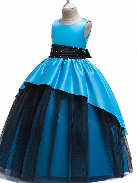 Princess Round Floor Length Cotton Junior Bridesmaid Dress With Bow(S) / Ruching_6