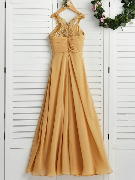 A-Line Halter Neck Floor Length Chiffon Junior Bridesmaid Dress With Appliques / Ruching / Wedding Party_2