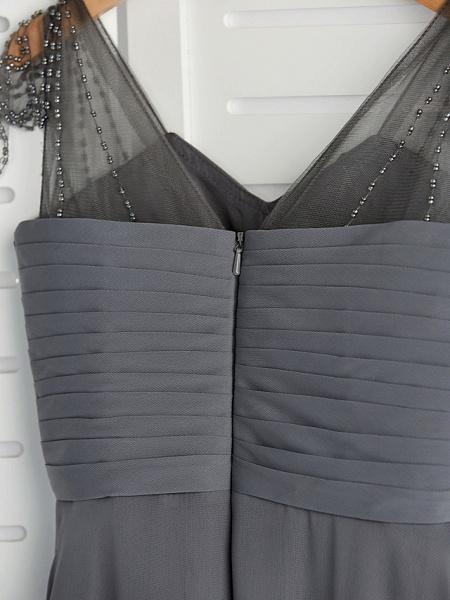 A-Line V Neck Maxi Chiffon Junior Bridesmaid Dress With Ruching_6