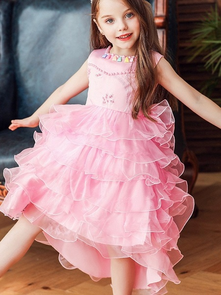 Princess / Ball Gown Knee Length Wedding / Party Flower Girl Dresses - Satin / Tulle Sleeveless Jewel Neck With Bow(S) / Beading / Cascading Ruffles_2