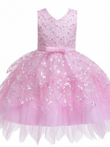 Princess / Ball Gown Mini Wedding / Party Flower Girl Dresses - Tulle Sleeveless V Neck With Sash / Ribbon / Bow(S) / Appliques_6
