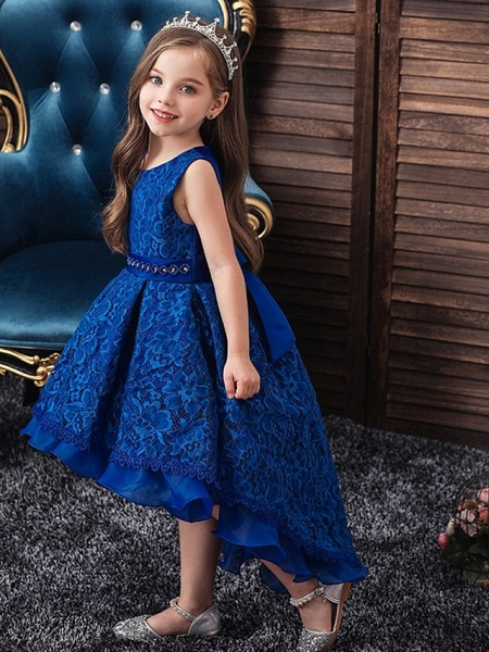 Princess / Ball Gown Floor Length Wedding / Party Flower Girl Dresses - Lace / Tulle Sleeveless Jewel Neck With Sash / Ribbon / Embroidery_1