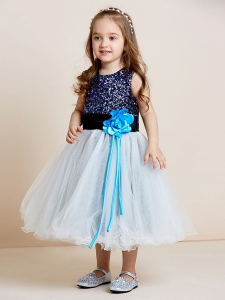 A-Line Tea Length Tulle / Sequined Sleeveless Jewel Neck With Sash / Ribbon / Sequin / Draping / Mini Me_8