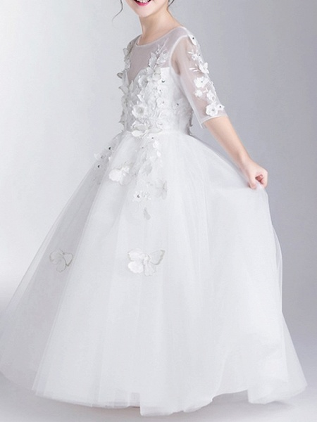Ball Gown Floor Length First Communion Flower Girl Dresses - Polyester Half Sleeve Jewel Neck With Appliques_4