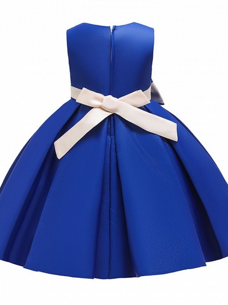 Princess / A-Line Knee Length Wedding / Party Flower Girl Dresses - Mikado Sleeveless Jewel Neck With Bow(S) / Tiered_13
