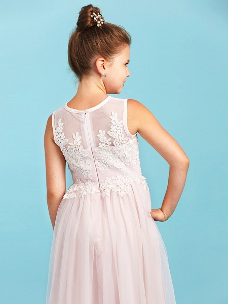 Princess / A-Line Jewel Neck Floor Length Tulle Junior Bridesmaid Dress With Pleats / Appliques / Wedding Party / See Through_6