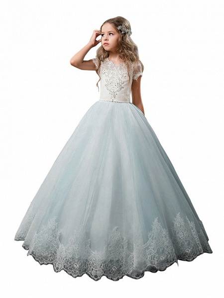 Princess Floor Length Wedding / Birthday / First Communion Flower Girl Dresses - Cotton / Nylon With A Hint Of Stretch / Lace / Tulle Short Sleeve Jewel Neck With Lace / Crystals / Rhinestones_4