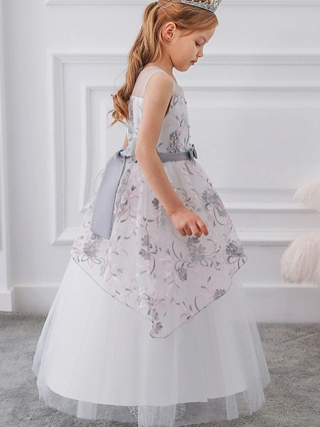 Princess / Ball Gown Floor Length Wedding / Party Flower Girl Dresses - Tulle Sleeveless Illusion Neck With Sash / Ribbon / Bow(S) / Embroidery_5