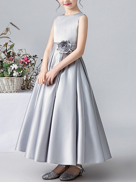 A-Line Round Ankle Length Satin Junior Bridesmaid Dress With Pleats / Appliques_2