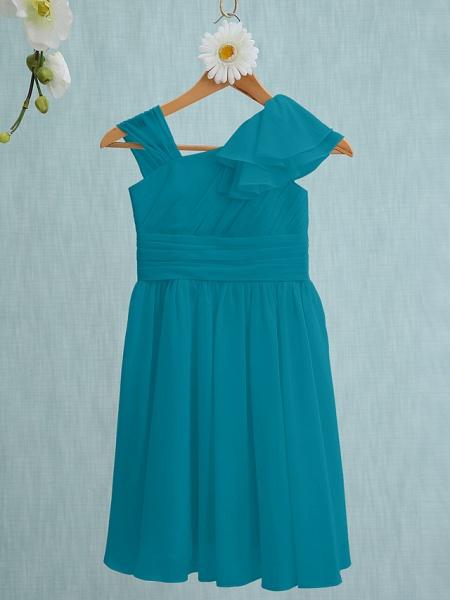 Sheath / Column Straps Knee Length Chiffon Junior Bridesmaid Dress With Ruffles / Side Draping / Natural_26