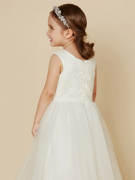 Princess Knee Length Wedding / First Communion Flower Girl Dresses - Lace / Satin / Tulle Sleeveless Jewel Neck With Lace_5
